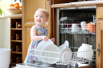 child opening dishwasher appliance repair